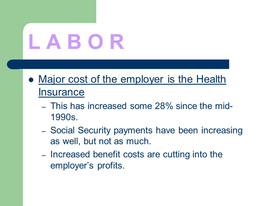 L A B O R Major cost of the employer is the Health Insurance – This has increased some 28% since the mid- 1990s. – Social Security payments have been