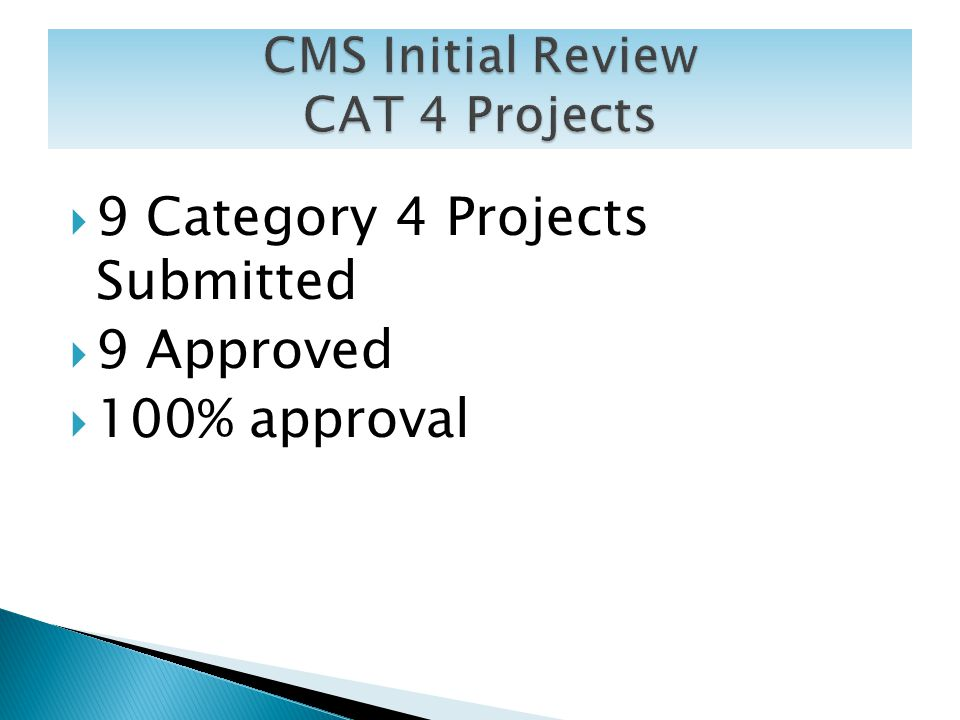 9 Category 4 Projects Submitted 9 Approved 100% approval 17