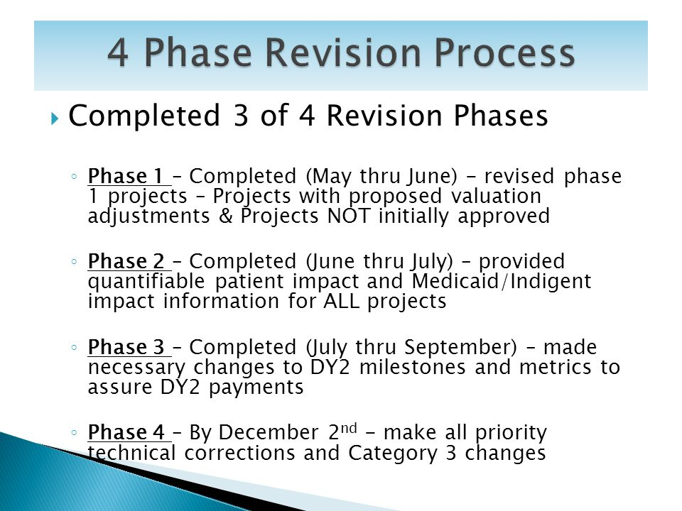 Completed 3 of 4 Revision Phases Phase 1 – Completed (May thru June) - revised phase 1 projects – Projects with proposed valuation adjustments & Proje