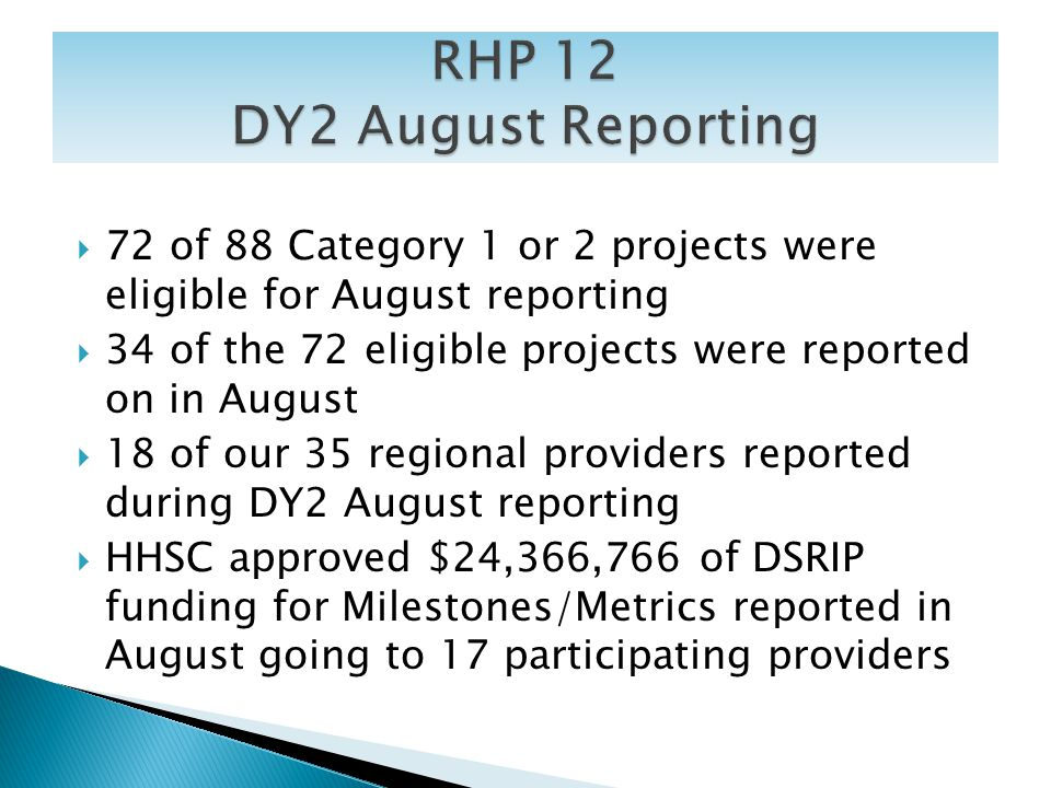 72 of 88 Category 1 or 2 projects were eligible for August reporting 34 of the 72 eligible projects were reported on in August 18 of our 35 regional p