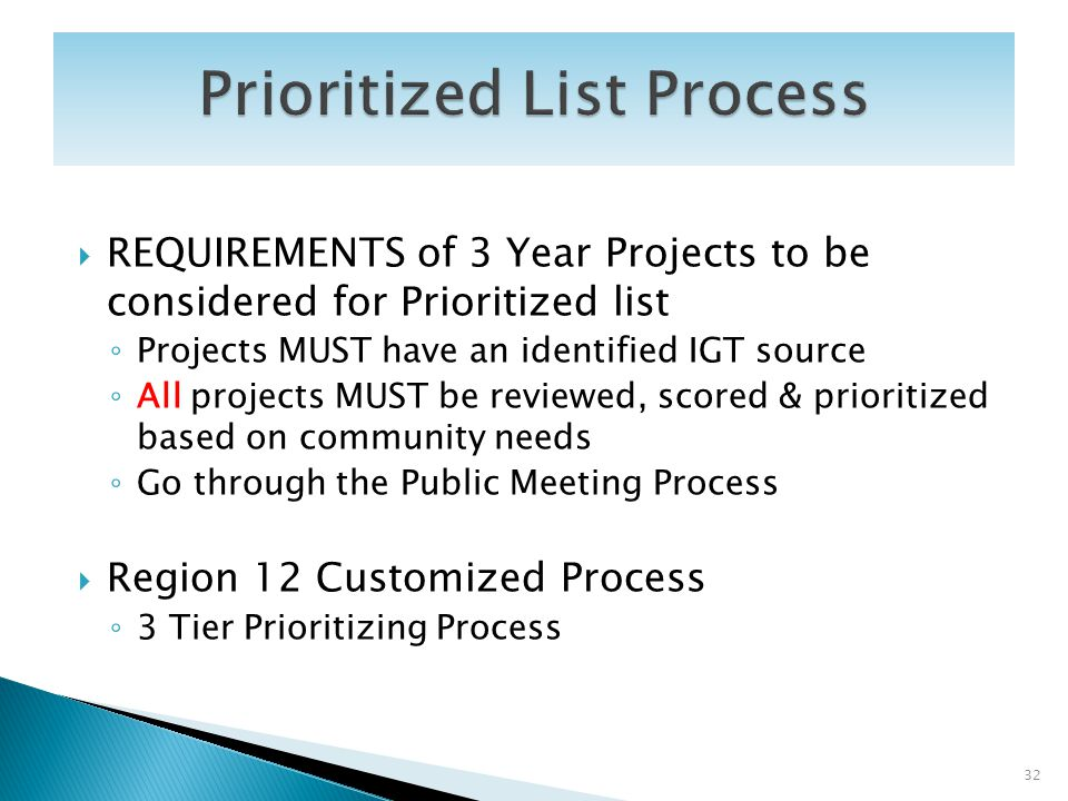 REQUIREMENTS of 3 Year Projects to be considered for Prioritized list Projects MUST have an identified IGT source All projects MUST be reviewed, score
