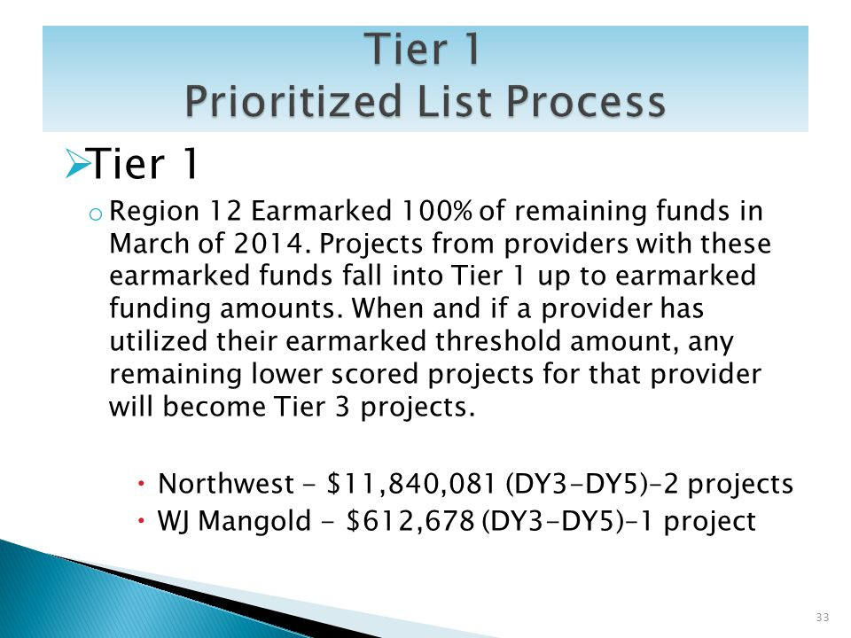 Tier 1 o Region 12 Earmarked 100% of remaining funds in March of 2014. Projects from providers with these earmarked funds fall into Tier 1 up to earma