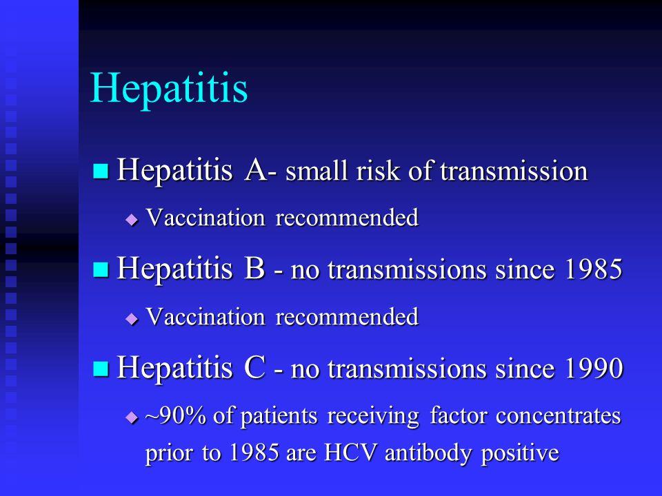 Hepatitis Hepatitis A - small risk of transmission Hepatitis A - small risk of transmission Vaccination recommended Vaccination recommended Hepatitis