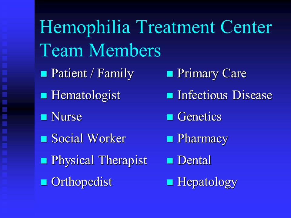 Hemophilia Treatment Center Team Members Patient / Family Patient / Family Hematologist Hematologist Nurse Nurse Social Worker Social Worker Physical
