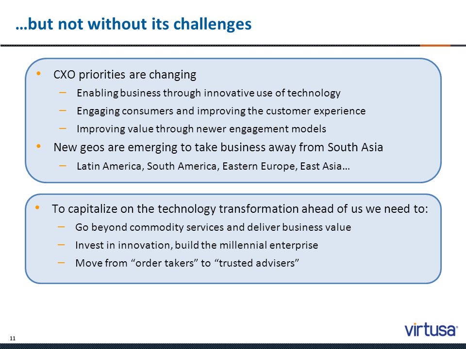 11 …but not without its challenges To capitalize on the technology transformation ahead of us we need to: – Go beyond commodity services and deliver b