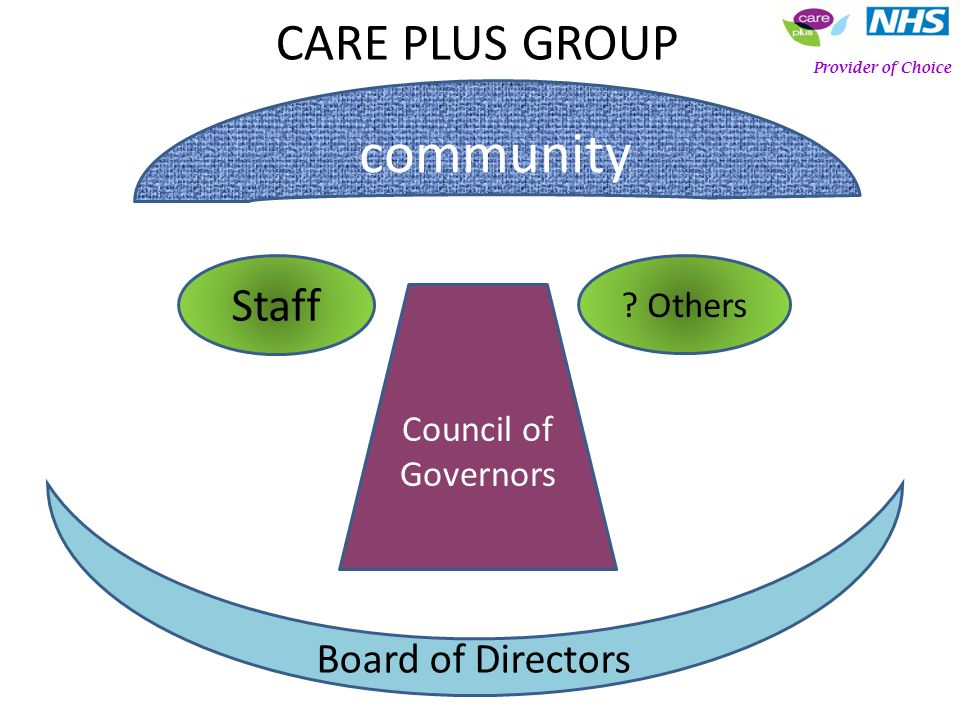 Staff ? Others Board of Directors Council of Governors Provider of Choice community CARE PLUS GROUP