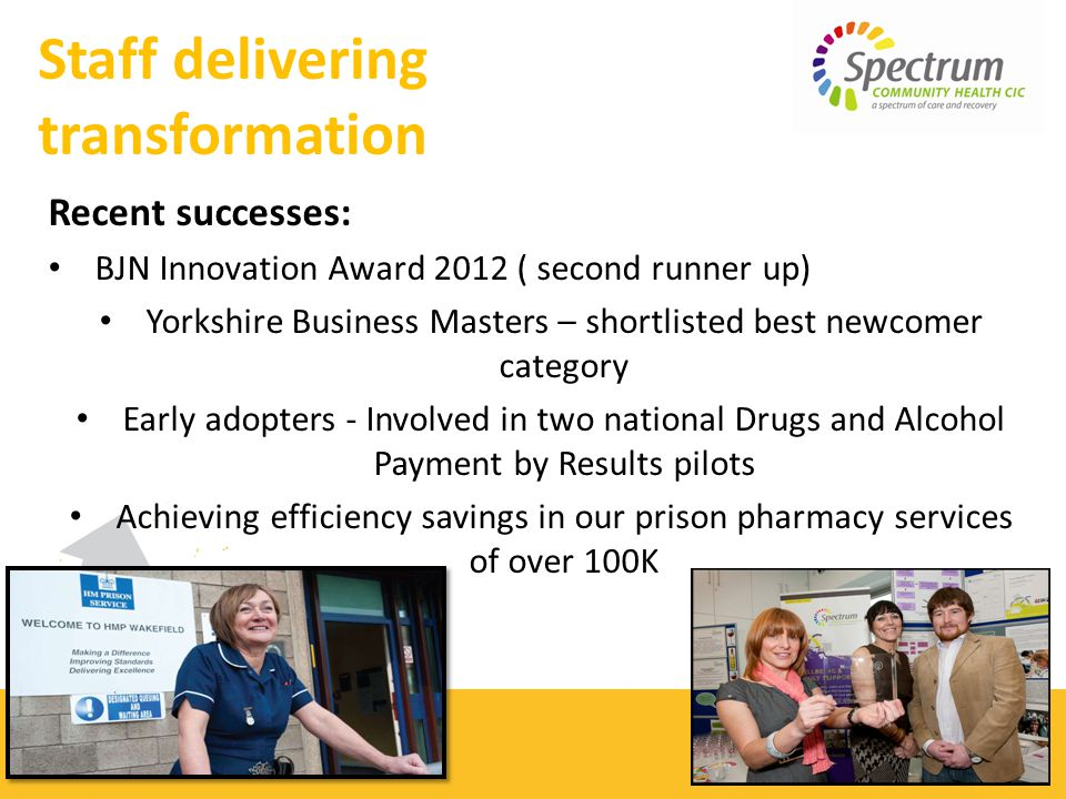 Recent successes: BJN Innovation Award 2012 ( second runner up) Yorkshire Business Masters – shortlisted best newcomer category Early adopters - Involved in two national Drugs and Alcohol Payment by Results pilots Achieving efficiency savings in our prison pharmacy services of over 100K Staff delivering transformation