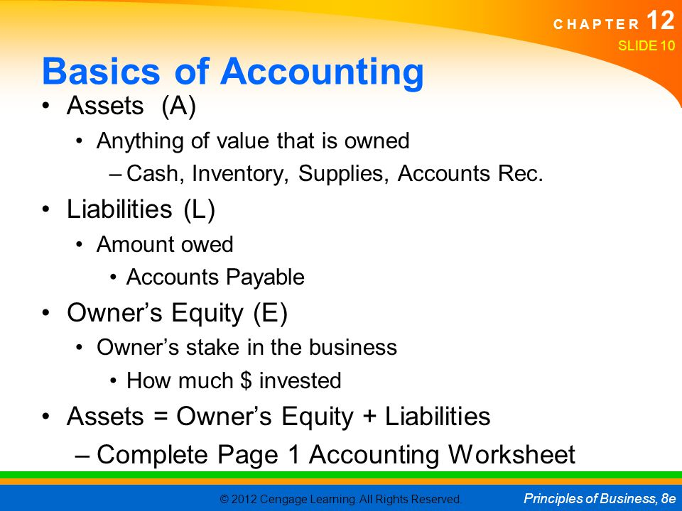 © 2012 Cengage Learning. All Rights Reserved. Principles of Business, 8e C H A P T E R 12 Basics of Accounting Assets (A) Anything of value that is ow