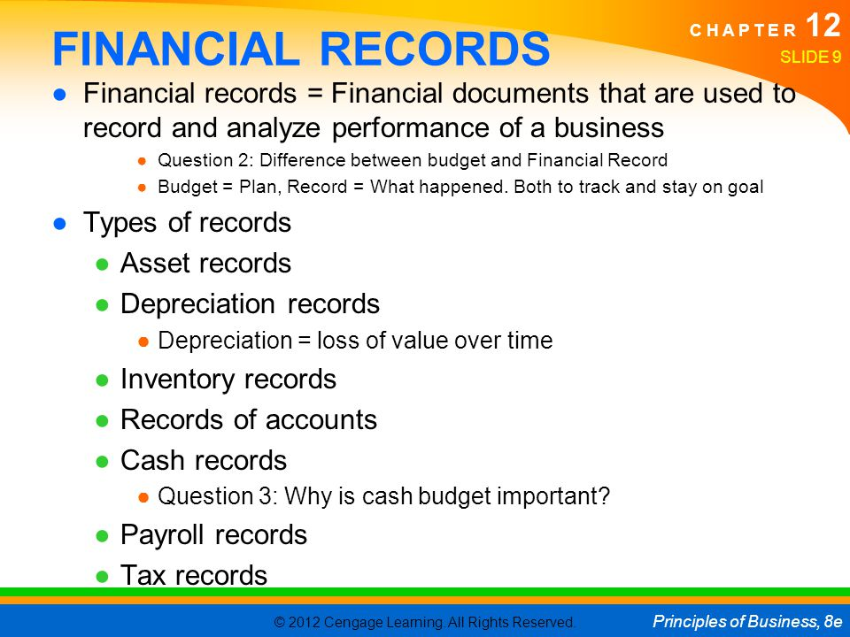 © 2012 Cengage Learning. All Rights Reserved. Principles of Business, 8e C H A P T E R 12 SLIDE 9 FINANCIAL RECORDS Financial records = Financial docu
