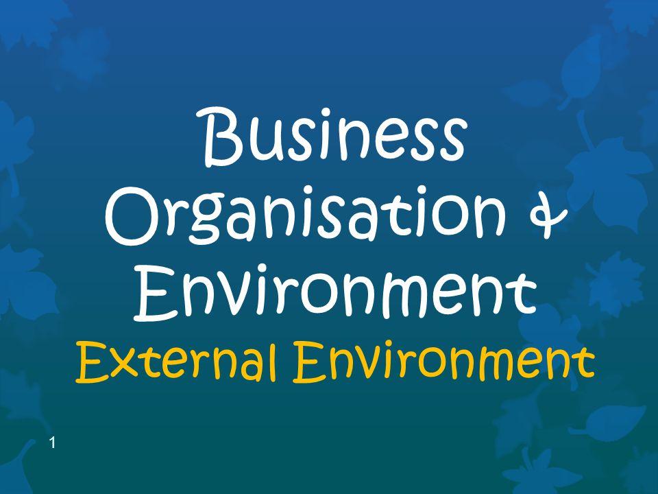 1 Business Organisation & Environment External Environment
