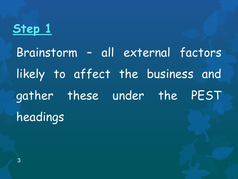 Step 1 Brainstorm – all external factors likely to affect the business and gather these under the PEST headings 3