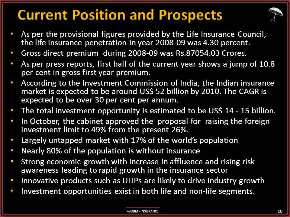 PGDBM - INSURANCE As per the provisional figures provided by the Life Insurance Council, the life insurance penetration in year 2008-09 was 4.30 percent.