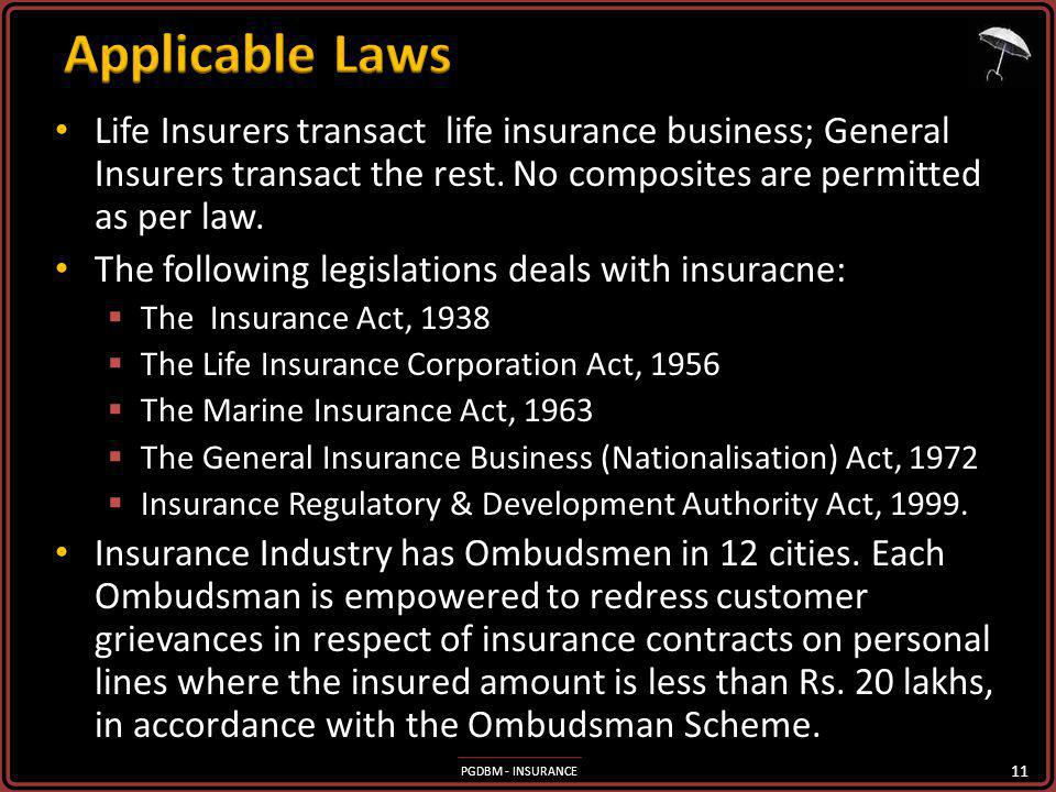 PGDBM - INSURANCE Life Insurers transact life insurance business; General Insurers transact the rest. No composites are permitted as per law. Life Ins