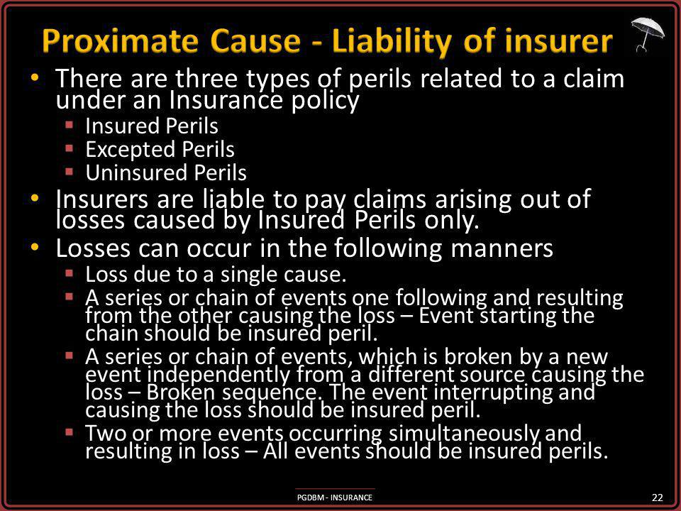 PGDBM - INSURANCE There are three types of perils related to a claim under an Insurance policy There are three types of perils related to a claim unde