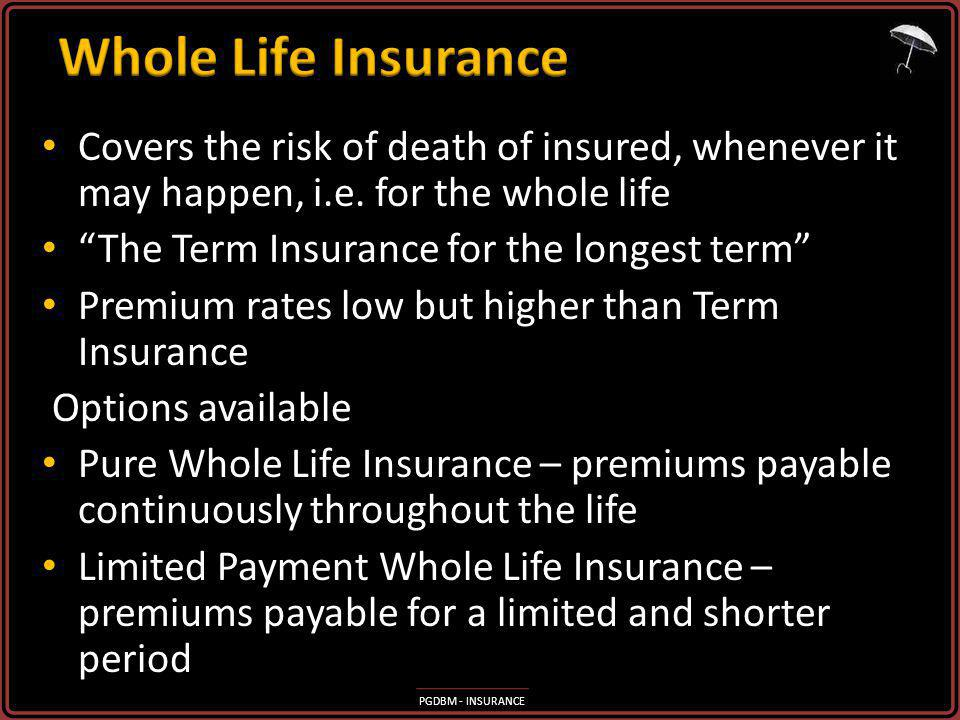 PGDBM - INSURANCE Covers the risk of death of insured, whenever it may happen, i.e.