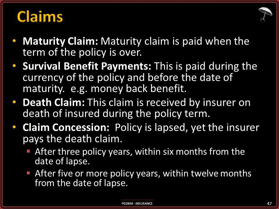 PGDBM - INSURANCE Maturity Claim: Maturity claim is paid when the term of the policy is over. Maturity Claim: Maturity claim is paid when the term of