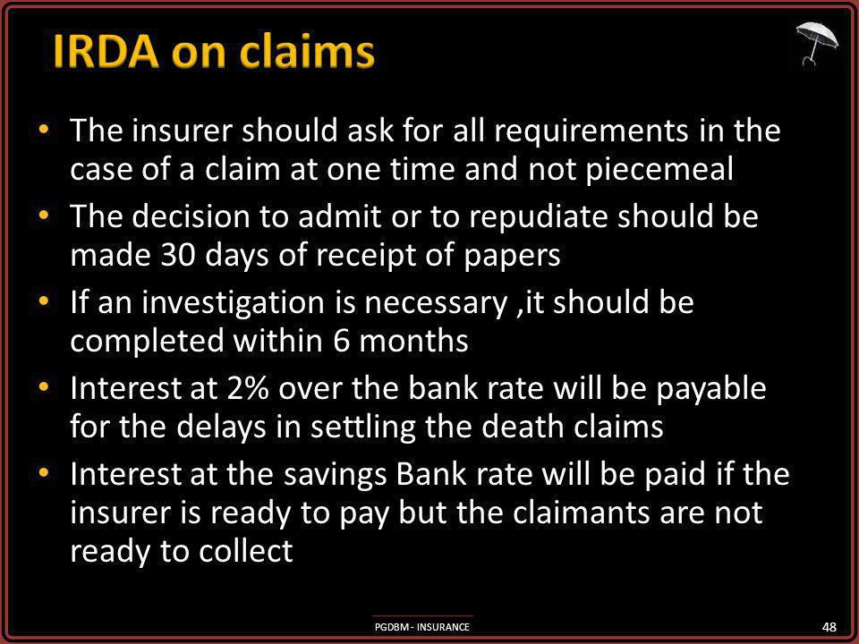 PGDBM - INSURANCE The insurer should ask for all requirements in the case of a claim at one time and not piecemeal The insurer should ask for all requirements in the case of a claim at one time and not piecemeal The decision to admit or to repudiate should be made 30 days of receipt of papers The decision to admit or to repudiate should be made 30 days of receipt of papers If an investigation is necessary,it should be completed within 6 months If an investigation is necessary,it should be completed within 6 months Interest at 2% over the bank rate will be payable for the delays in settling the death claims Interest at 2% over the bank rate will be payable for the delays in settling the death claims Interest at the savings Bank rate will be paid if the insurer is ready to pay but the claimants are not ready to collect Interest at the savings Bank rate will be paid if the insurer is ready to pay but the claimants are not ready to collect 48