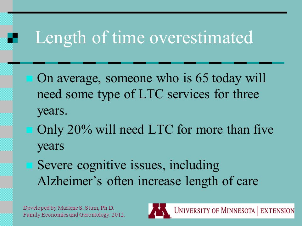 Length of time overestimated On average, someone who is 65 today will need some type of LTC services for three years.
