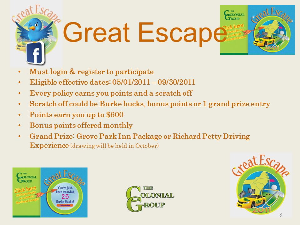 Great Escape Must login & register to participate Eligible effective dates: 05/01/2011 – 09/30/2011 Every policy earns you points and a scratch off Sc