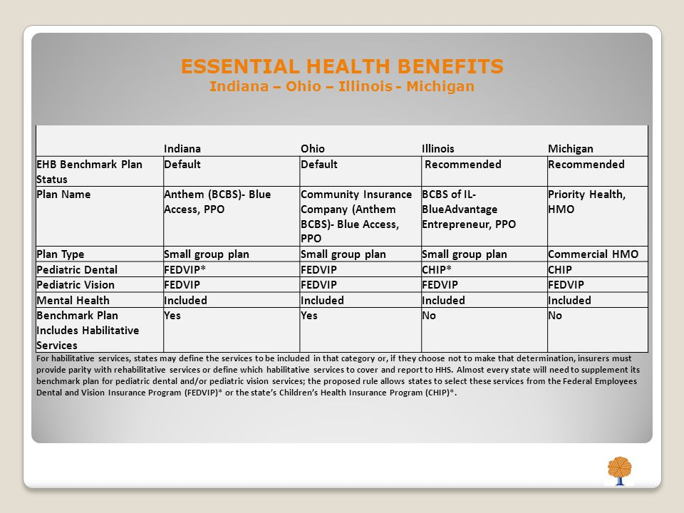 ESSENTIAL HEALTH BENEFITS Indiana – Ohio – Illinois - Michigan IndianaOhioIllinoisMichigan EHB Benchmark Plan Status Default Recommended Plan NameAnthem (BCBS)- Blue Access, PPO Community Insurance Company (Anthem BCBS)- Blue Access, PPO BCBS of IL- BlueAdvantage Entrepreneur, PPO Priority Health, HMO Plan TypeSmall group plan Commercial HMO Pediatric DentalFEDVIP*FEDVIPCHIP*CHIP Pediatric VisionFEDVIP Mental HealthIncluded Benchmark Plan Includes Habilitative Services Yes No For habilitative services, states may define the services to be included in that category or, if they choose not to make that determination, insurers must provide parity with rehabilitative services or define which habilitative services to cover and report to HHS.
