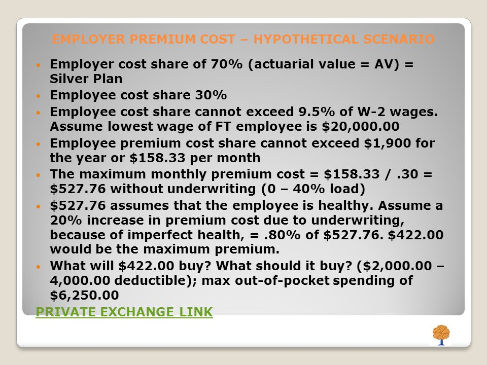 EMPLOYER PREMIUM COST – HYPOTHETICAL SCENARIO Employer cost share of 70% (actuarial value = AV) = Silver Plan Employee cost share 30% Employee cost share cannot exceed 9.5% of W-2 wages.