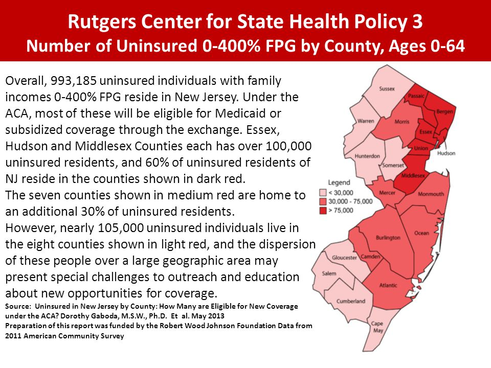 Rutgers Center for State Health Policy 3 Number of Uninsured 0-400% FPG by County, Ages 0-64 Overall, 993,185 uninsured individuals with family income