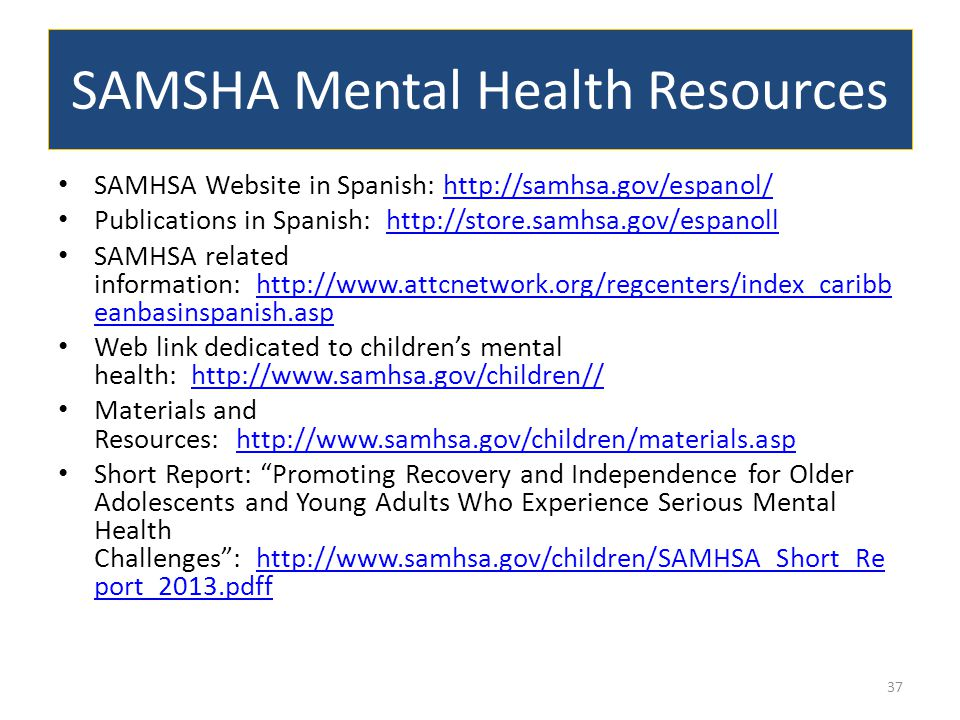 SAMSHA Mental Health Resources SAMHSA Website in Spanish: http://samhsa.gov/espanol/http://samhsa.gov/espanol/ Publications in Spanish: http://store.s