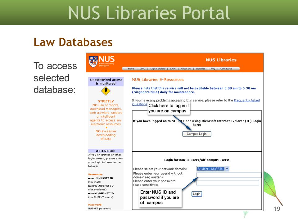 NUS Libraries Portal 19 Law Databases To access selected database: