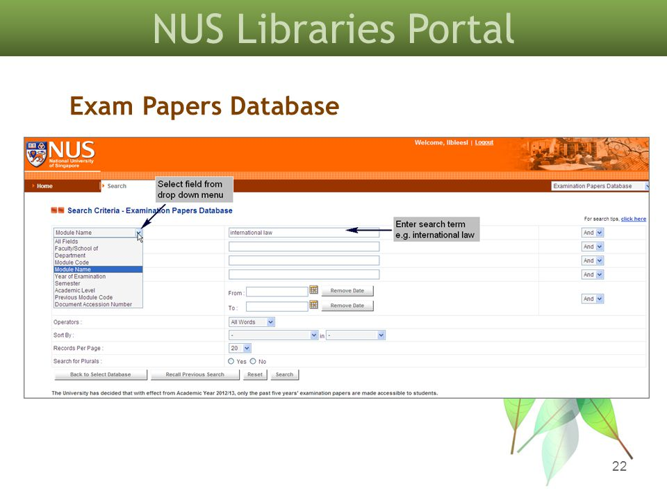 NUS Libraries Portal 22 Exam Papers Database