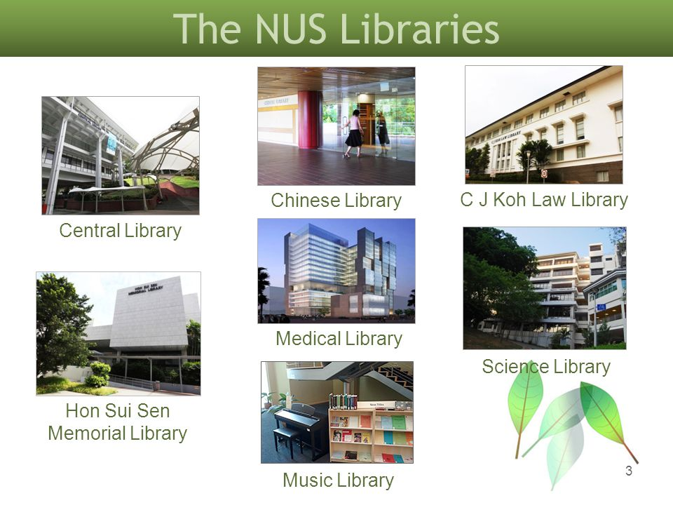 Central Library Science Library Chinese Library C J Koh Law Library Hon Sui Sen Memorial Library Music Library The NUS Libraries Medical Library 3