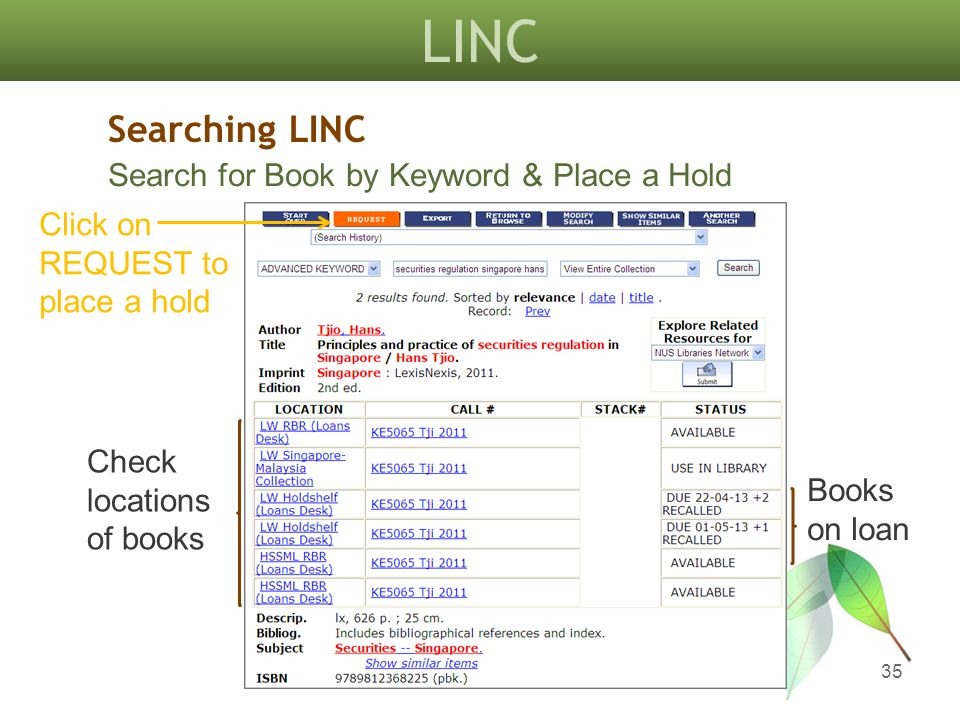 LINC 35 Books on loan Click on REQUEST to place a hold Searching LINC Search for Book by Keyword & Place a Hold Check locations of books