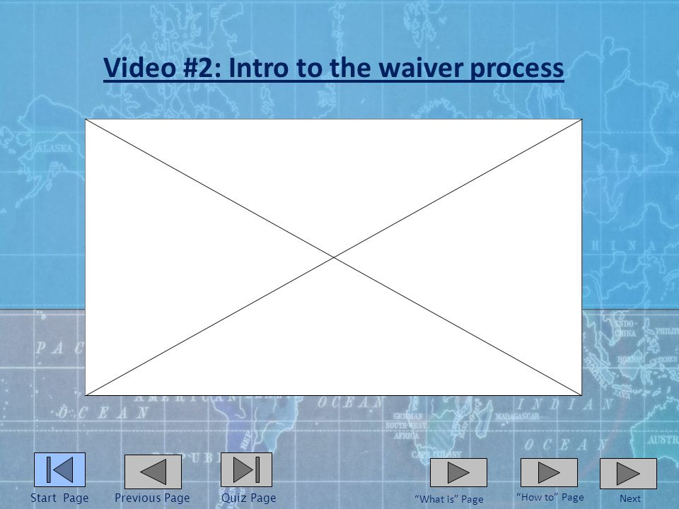Video #1: What is a health insurance waiver Start PagePrevious Page What is Page Next How to Page Quiz Page