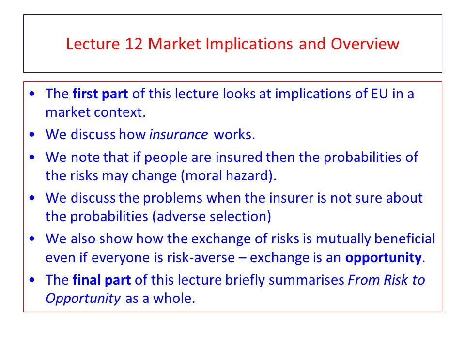 Lecture 12 Market Implications and Overview The first part of this lecture looks at implications of EU in a market context.