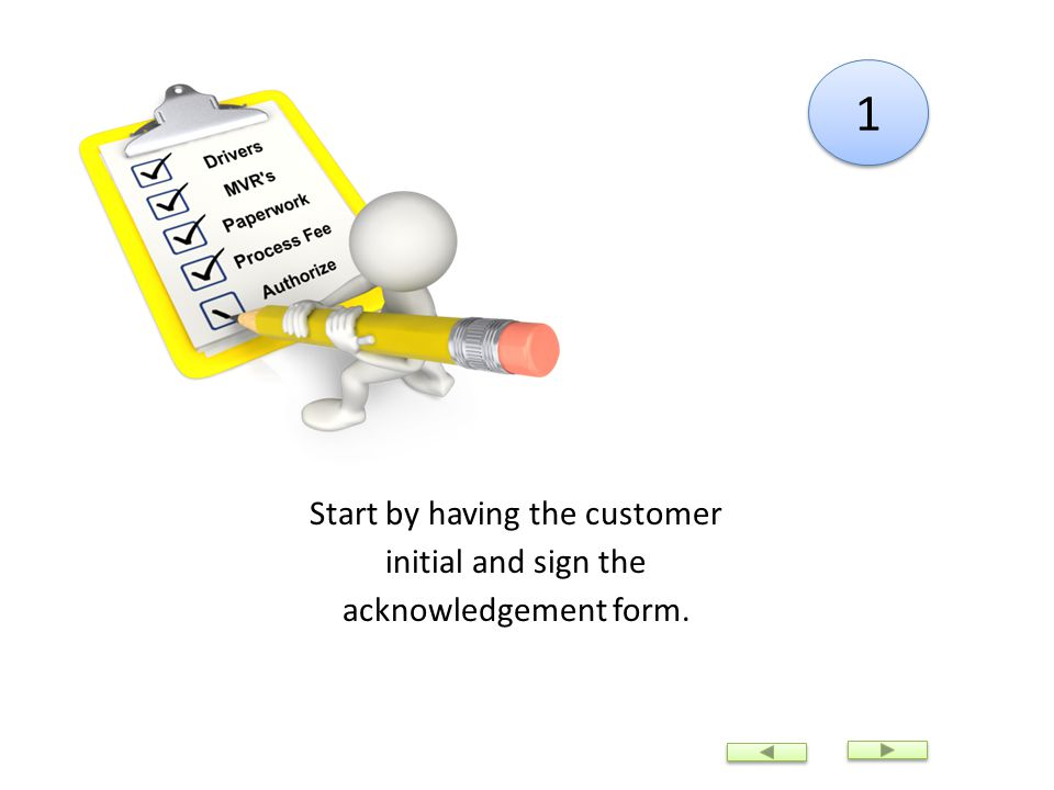 Start by having the customer initial and sign the acknowledgement form. 1 1