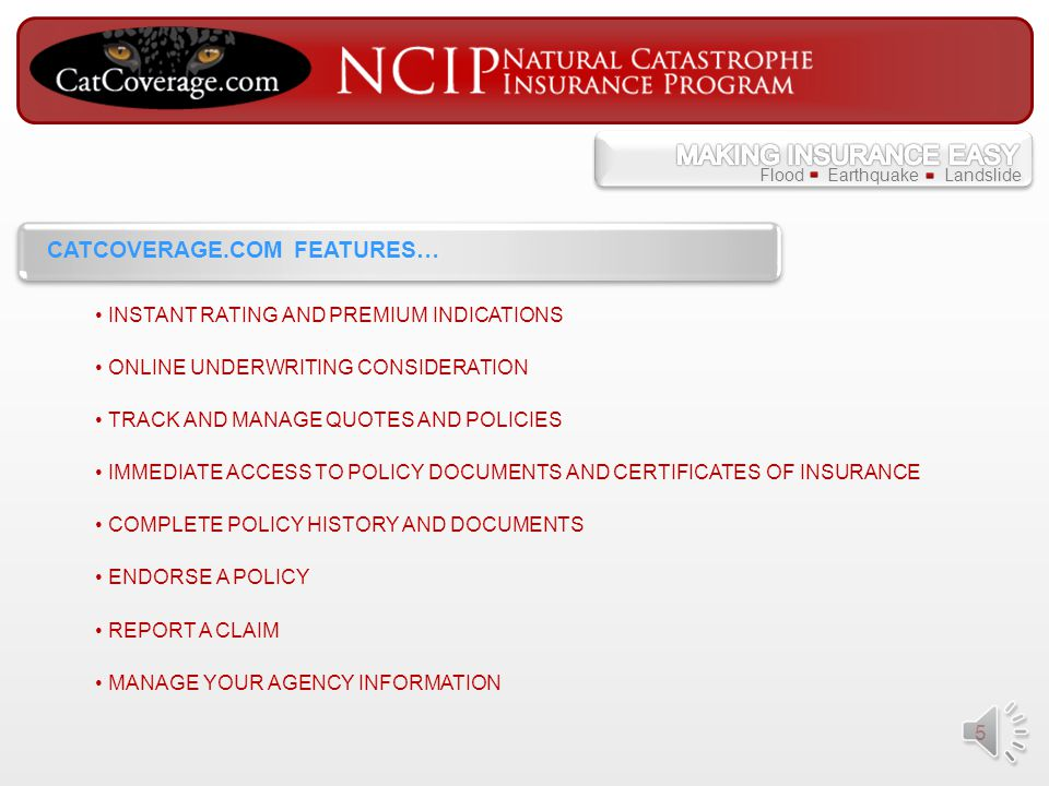 4 AN ONLINE PROPERTY AND CASUALTY FACILITY PROVIDING ONLINE ACCESS TO THE NATURAL CATASTROPHE INSURANCE PROGRAM (NCIP) WHAT IS CATCOVERAGE.COM? LICENS