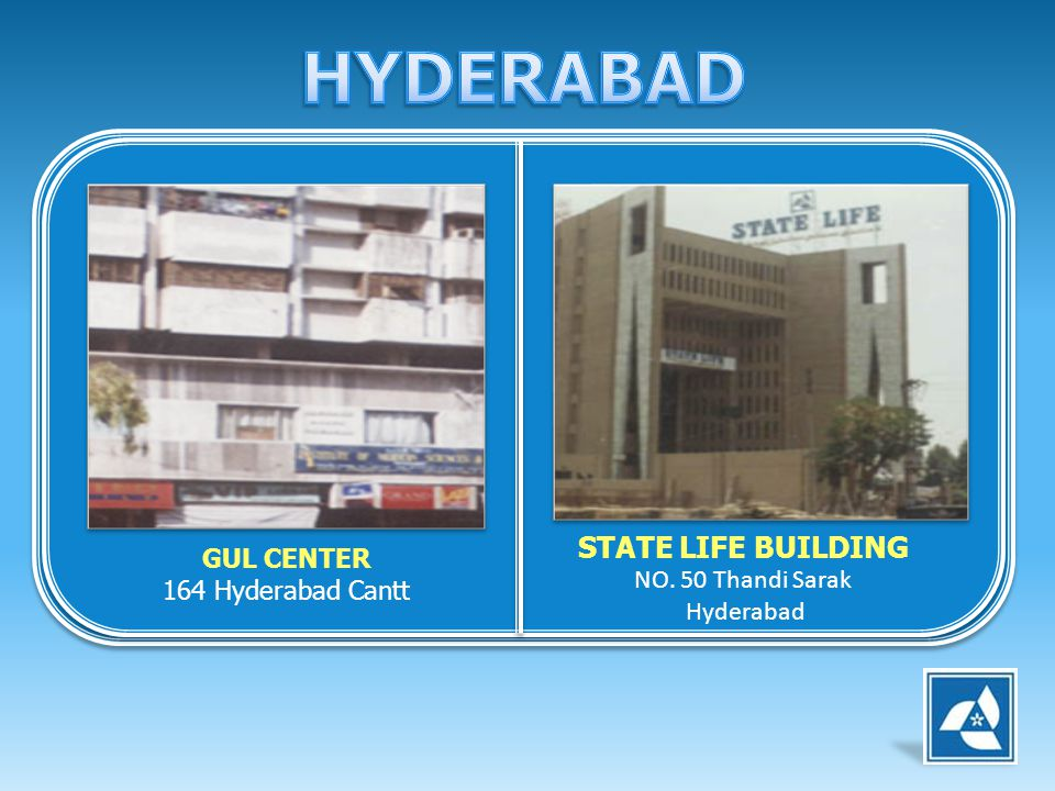 GUL CENTER 164 Hyderabad Cantt STATE LIFE BUILDING NO. 50 Thandi Sarak Hyderabad