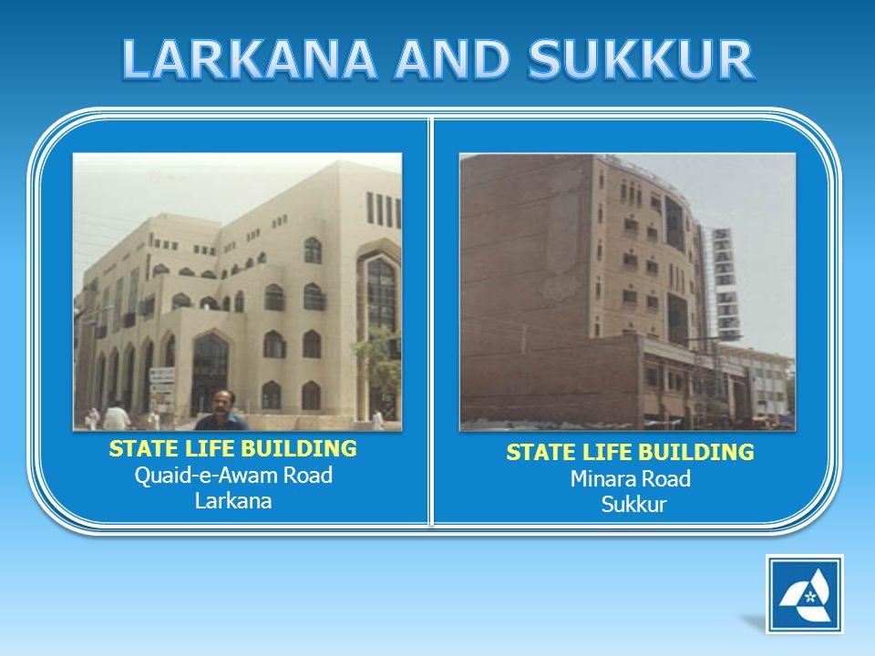 STATE LIFE BUILDING Quaid-e-Awam Road Larkana STATE LIFE BUILDING Minara Road Sukkur