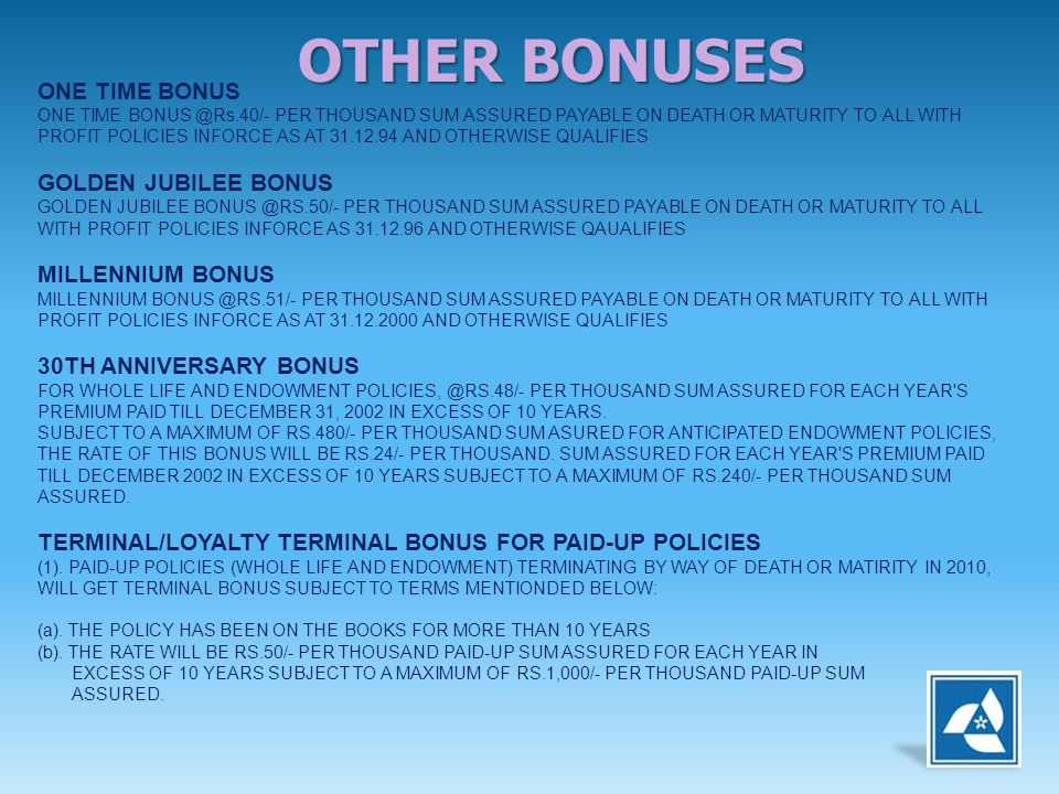 ONE TIME BONUS ONE TIME BONUS @Rs.40/- PER THOUSAND SUM ASSURED PAYABLE ON DEATH OR MATURITY TO ALL WITH PROFIT POLICIES INFORCE AS AT 31.12.94 AND OT