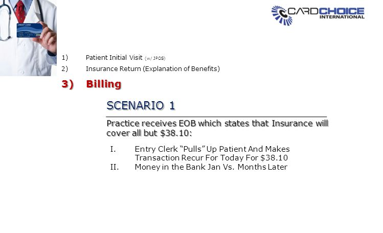 SCENARIO 1 Practice receives EOB which states that Insurance will cover all but $38.10: I.Entry Clerk Pulls Up Patient And Makes Transaction Recur For