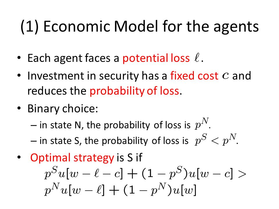 (1) Economic Model for the agents Each agent faces a potential loss.