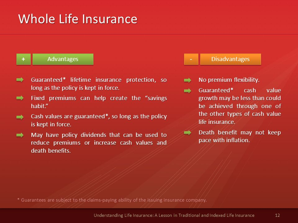 Whole Life Insurance 12Understanding Life Insurance: A Lesson in Traditional and Indexed Life Insurance Advantages Disadvantages + + - - Guaranteed* lifetime insurance protection, so long as the policy is kept in force.