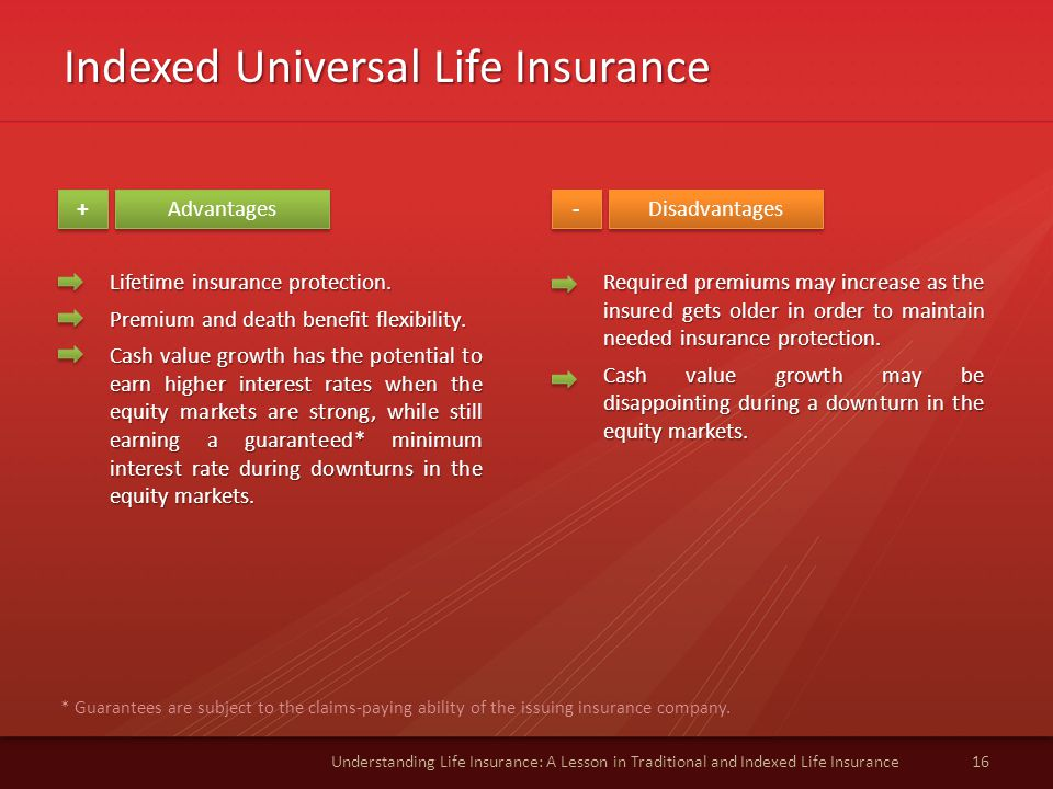 Indexed Universal Life Insurance 16Understanding Life Insurance: A Lesson in Traditional and Indexed Life Insurance Advantages Disadvantages + + - - Lifetime insurance protection.