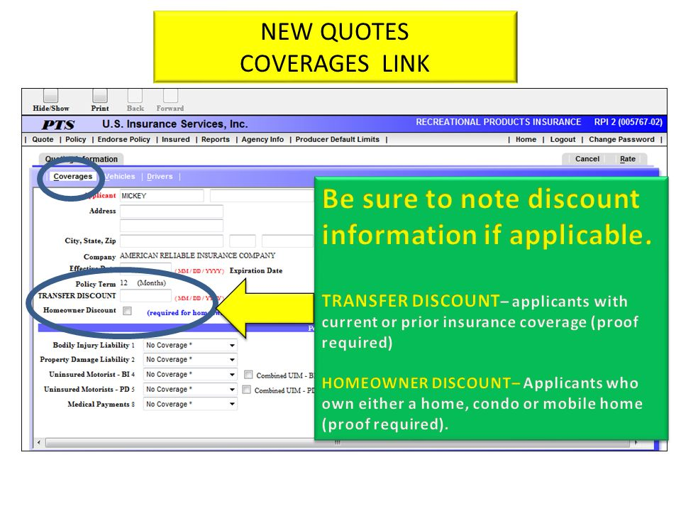 NEW QUOTES COVERAGE TAB NEW QUOTES COVERAGES LINK
