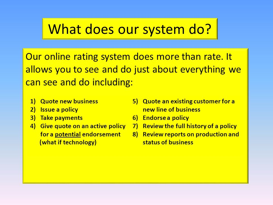 What does our system do. Our online rating system does more than rate.