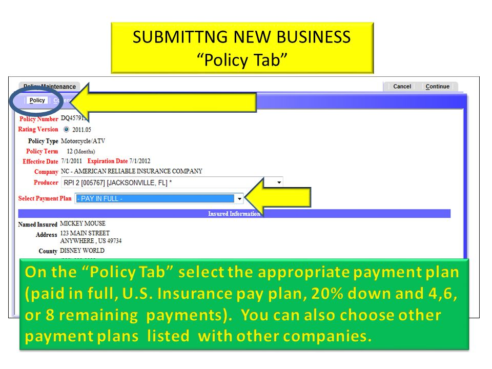 SUBMITTNG NEW BUSINESS Policy Tab