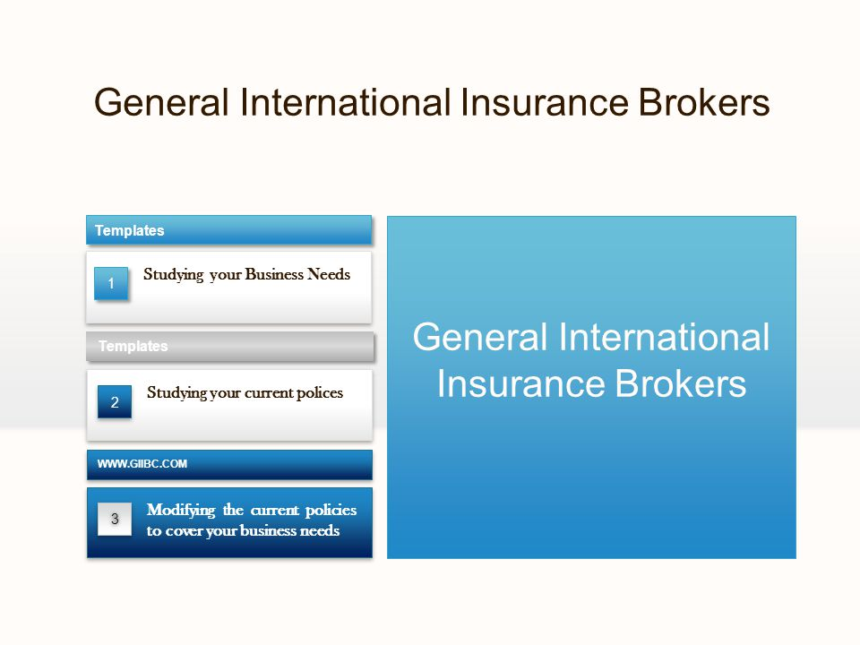 General International Insurance Brokers Studying your Business Needs Templates Studying your current polices Templates 33 Modifying the current policies to cover your business needs WWW.GIIBC.COM General International Insurance Brokers 2 1