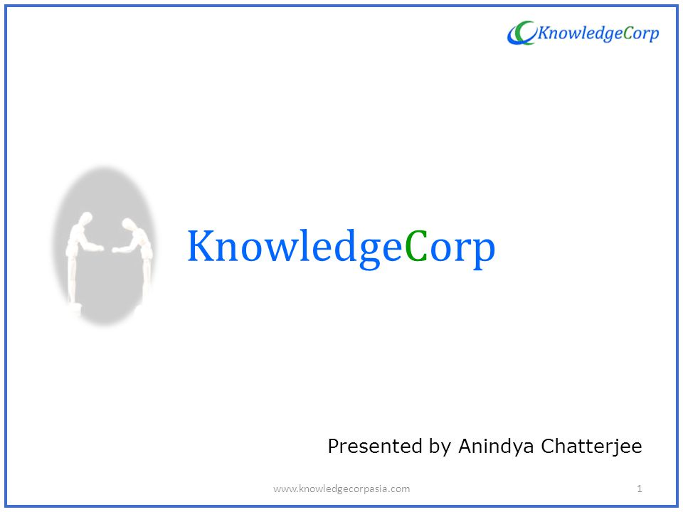 KnowledgeCorp Presented by Anindya Chatterjee 1www.knowledgecorpasia.com