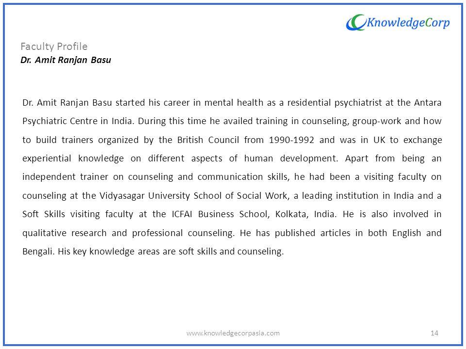 Faculty Profile Dr. Amit Ranjan Basu Dr.