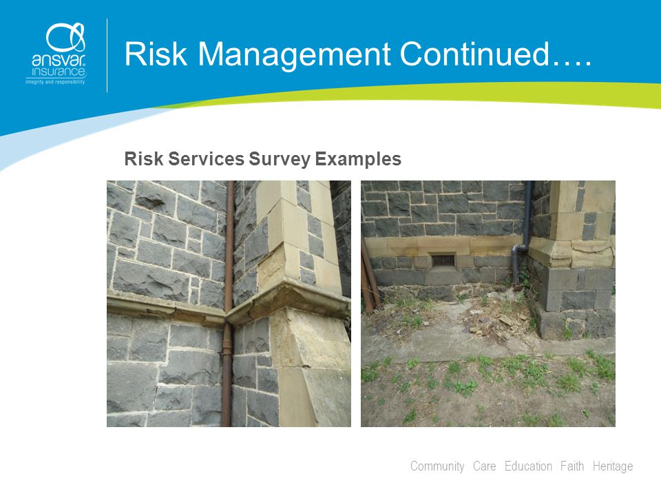 Community Care Education Faith Heritage Risk Management Continued…. Risk Services Survey Examples
