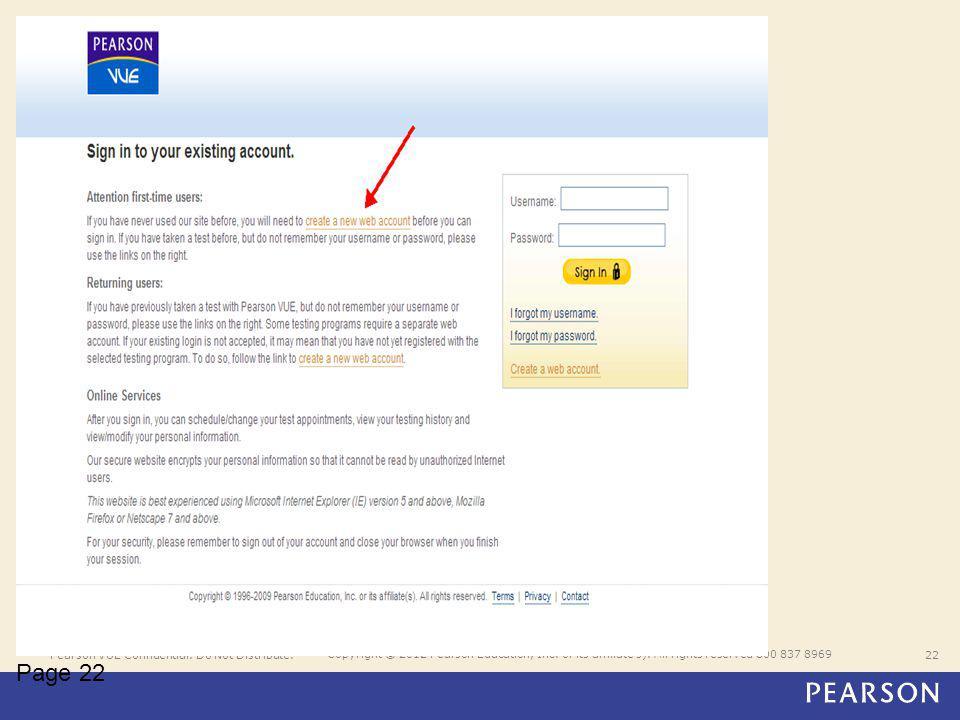 Pearson VUE Confidential. Do Not Distribute.22 Copyright © 2012 Pearson Education, Inc.